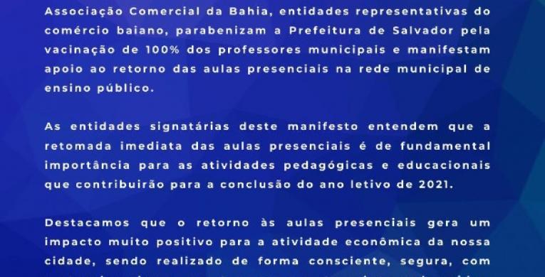 MANIFESTO DE APOIO AO RETORNO DAS AULAS PRESENCIAIS NA REDE MUNICIPAL DE ENSINO PÚBLICO
